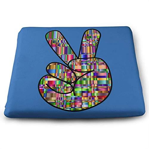 Preisvergleich Produktbild ADGoods Quadratisches Sitzkissen Mosaic Peace Gesture Sign Seat Cushion Pads Memory Foam Chair Pad Reversible Square Seat Cover Delicate Printing