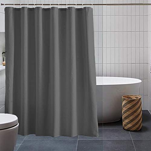 """Waffle Shower Curtain, New Silhouette Shower Curtain Premium Polyester, Breathable Microfiber Fabric Machine Washable Shower Curtain, Hotel Quality Bathroom Shower Curtain, 72"""" W x 72"""" H (Gray)"""