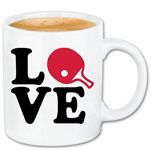 Reifen-Markt Kaffeetasse I Love Tischtennis - Tisch Tennis - PING Pong - TISCHTENNISBALL - TISCHTENNISSCHLÄGER Keramik 330 ml in Weiß