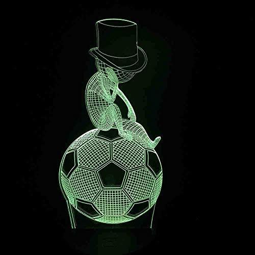 Sporting Style 3D USB LED-lamp pakken hoed kinderen zitten oefening voetbal denken nachtlampje nacht slaap decor