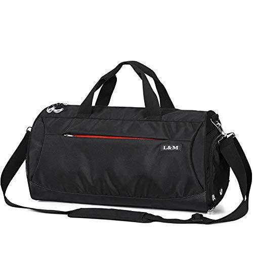 LM スポーツバッグ ボストン ジムバッグ シューズ収納 軽量 大容量 防水 (ブラック)