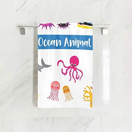 MRRUI - Toalla de Mano (40 x 70 cm), diseño de Animales de oca, Estrella de mar, Pulpo, tiburón, Caballito de mar, Coral