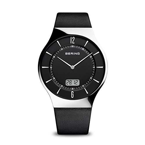 BERING Herren Analog Funk Collection Armbanduhr mit Kalbsleder Armband und Saphirglas 51640-402