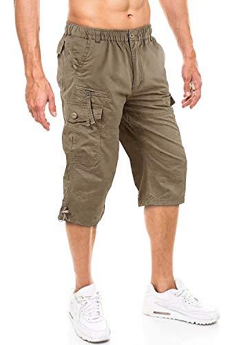 KEFITEVD Men Shorts Casual Summer Chino Cargo 3/4 Shorts with Zip Pockets Long Shorts Capri Three Quarter 3 4 Cropped Pants Khaki