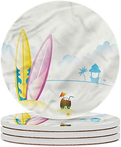 Posavasos de cerámica de tabla de surf Coctel de coco Posavasos de piedra de cerámica de playa con base de corcho Taza de café Mantel individual para inauguración de la casa