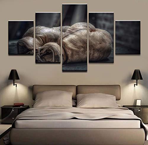 Caweilen Gemälde Leinwanddruck für Wohnzimmer Wandkunst Poster 5 Stück Boxhandschuh Dekoration Modulare Bilder A