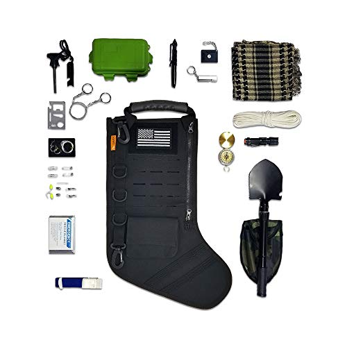 Gearrific Tactical Christmas Stocking Pre-Filled with Gifts for Him, Soldiers, Military or Survivalists (32-Piece Set (Black))