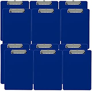 Trade Quest Plastic Clipboard Opaque Color Letter Size Low Profile Clip (Pack of 12) (Blue)