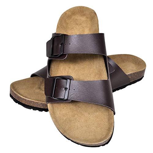 Geniet van winkelen met Sandalen met 2 bandjes met gesp maat 43 (bruin) (unisex)