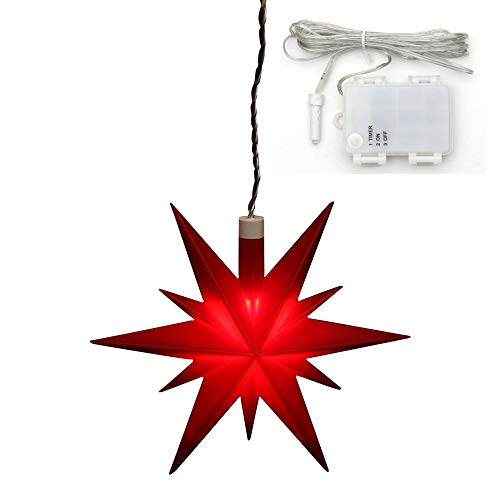 Dekohelden24 Weihnachtsstern aus Kunststoff in rot, für Innen und Außen geeignet, inkl. LED Beleuchtung und 6h Timer, für Batteriebetrieb. Maße L/B/H: 13,5 x 5,5 x 12 cm.