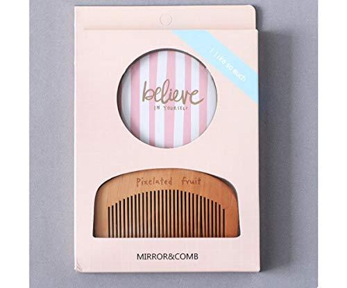 1 Set Rose Croyez En Vous-même en Plastique en Bois Miroir de Maquillage Peigne d'Outils de maquillage Portable Cosmétique Pro maquillage de Voyage Trousse Beauté 18cm