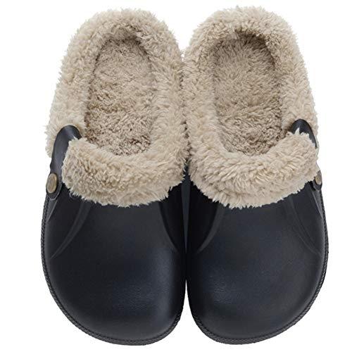 Zkyo Clogs Damen Herren Winter Warme Gefüttert Hausschuhe Leicht Rutschfeste Home Slipper Schwarz Grau Größe 40-41 (CN 40-41)