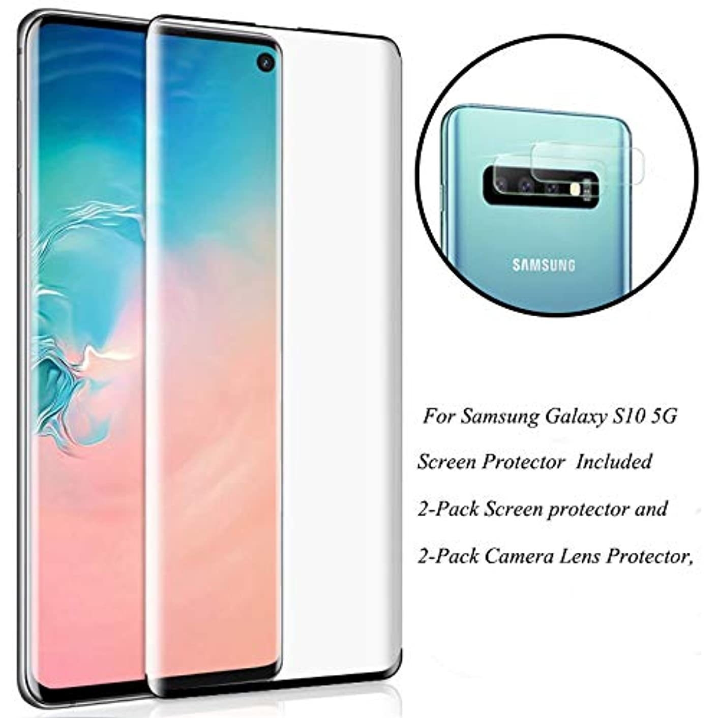 Galaxy S10 5G (6.7'') Screen Protector with Camera Lens Protector, [Case Friendly][9H Hardness][ Fingerprint Unlocking][Bubble-Free] Tempered Glass Screen Protector for Samsung Galaxy S10 5G