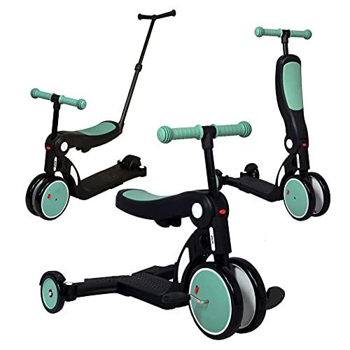 Looping - SCOOTIZZ Tricycle/Trottinette Evolutif 5 en 1 (avec Barre de Poussée, Vert Amande)