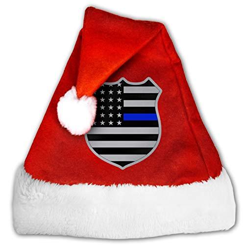 MXDISIWD Lindo Sombreros de Navidad Soporte Polica Insignia de EE.UU. Bandera Americana Lnea Azul Santa Sombreros Para Navidad Disfraz Fiesta Decoracin