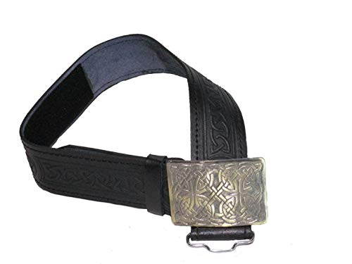 AAR Leather Celtic Design Kilt Belt Black & Brown With Antique Finish Buckle Scottish Highland