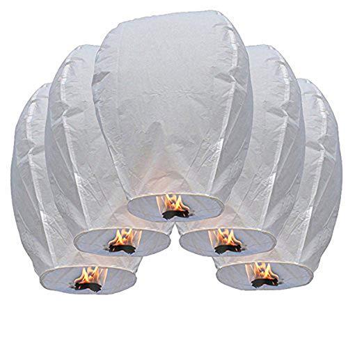10/20 piezas Linternas Voladoras del Cielo Chino Farolillos, color blanco (Blanco, 10pcs)