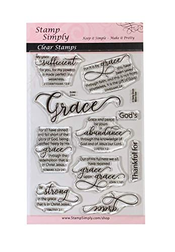 Stamp Simply Clear Stamps Grace Faith and Thankfulness Christian Religious 4x6 Inch Sheet - 10 Pieces