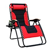 PHI VILLA XL Oversize Zero Gravity Chair Padded Recliner Oversize Lounge Chair with Free Cup Holder,Support 350 LBS (Red)
