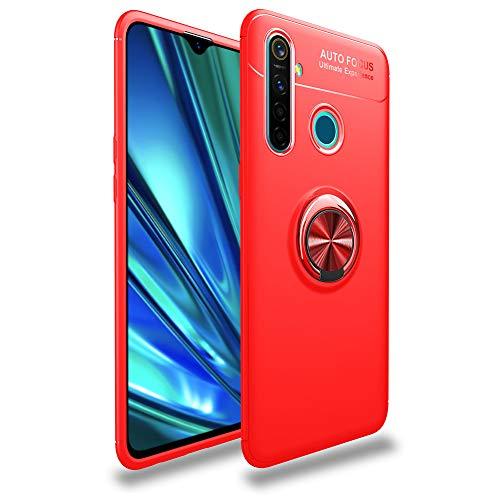 """HERCN Custodia Compatibile con Realme 5 PRO 6.3"""",Ultra Sottile Silicone TPU Custodia con Anello in Metallo Protettiva Case con Supporto Auto Magnetico per Realme 5 PRO Smartphone (Rosso)"""