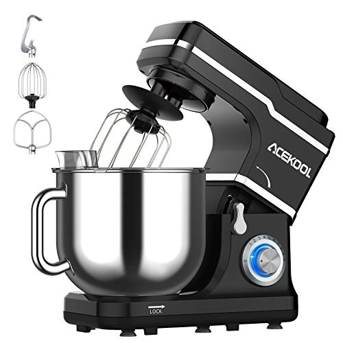 Stand Mixer, 7.5QT Kitchen Electric Food Mixer 10-Speed Tilt-Head Dough Mixer for Baking&Cake, with Stainless Steel Bowl, Whisk, Dough Hook, Beater, Splash Guard (660W)BLACK