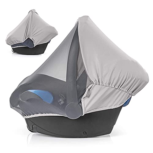 Zamboo Cubierta 3 en 1 para Grupo 0+ (se adapta a Maxi-Cosi/Cybex/Römer) | Toldo solar con Protección UV, Mosquitera y Funda de asiento (gris)