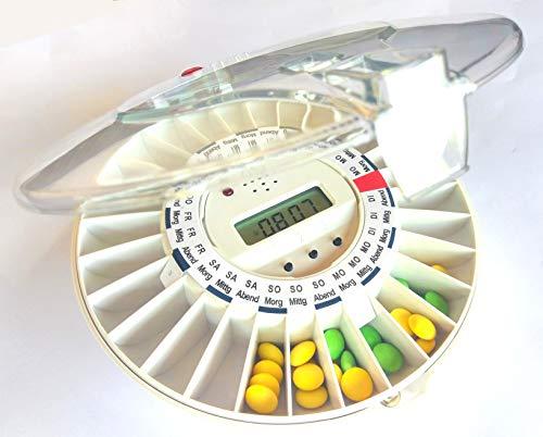 DEUTSCHSPRACHIGE automatische Pillendose DoseControl mit deutschen Dosierungsringen + zusätzlichem Schlüssel GRATIS, Modell 2020 mit transparentem Deckel, Deutscher Service für Wartung und Ersatzteile