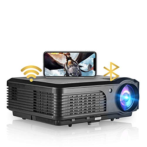 WiFi Projectors with Bluetooth 4600 Lumens HD LCD LED 1080P Support Smart Home Theater Projector Indoor Outdoor Movie Gaming with Android iOS Speakers 2 HDMI 2 USB VGA RCA Audio AV Port TV PS4 DVD