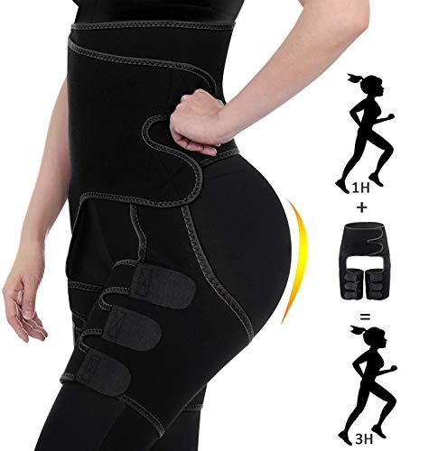 Waist Trainer for Women Weight Loss Plus Size High Waist and Thigh Trimmer Adjustable Slimmer Wrap Sweat Belt Butt Lifter Workout Body Shaper for Women, Men (Black, XXL/XXXL)
