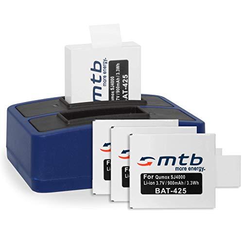 4 Baterías + Cargador Doble (USB) para cámara Deportiva Qumox SJ5000(+), SJ5000X, SJ4000(+) / SJCam M10(+), X1000. - Contiene Cable Micro USB