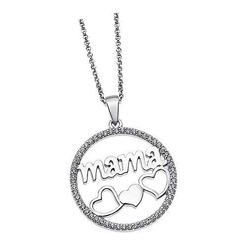 Lotus Silver Collar con colgante de corazón de Mama LP1809-1/1, circonita 925, plata JLP1809-1-1
