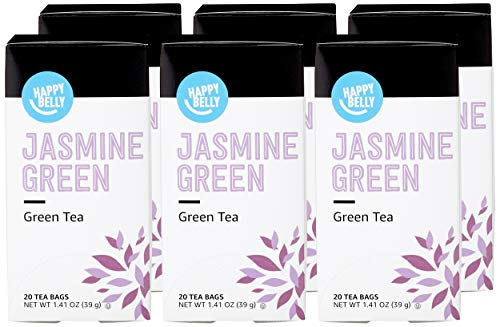 Amazon Brand - Happy Belly Green Tea Bags, Jasmine, 20 Count (Pack of 6) (Previously Solimo)