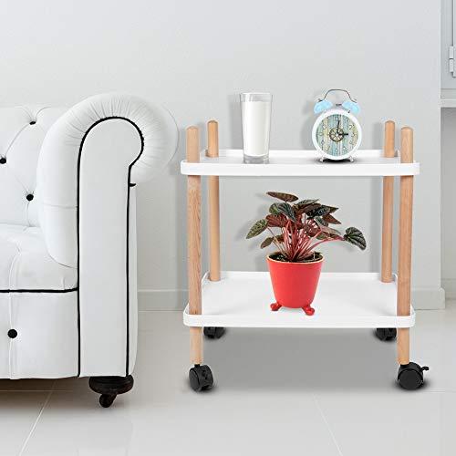 GOTOTOP Weißes Quadrat Nordic multifunktionales Wagenrad bewegliche Seite Esswagen Wagenregal Lagerung