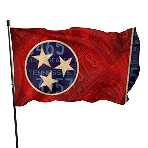 shenhaimojing Vintage License Plate Tennessee State Flag Outdoor Banner Flags,Outdoor Flag,Home Garden Flag,Breeze Flag 150X90Cm,House Yard Decoration