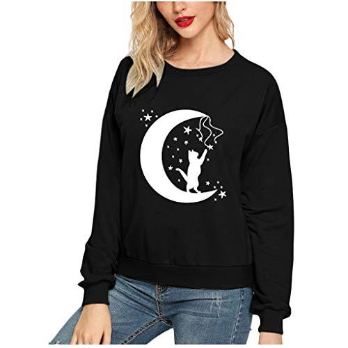 GOKOMO Langärmliges Pullover-Oberteil mit Katzenmuster für Damen Mode Frauen Katze Druck Rundhals Langarm Casual Bluse Sweatshirt Top(Schwarz-e,XX-Large)