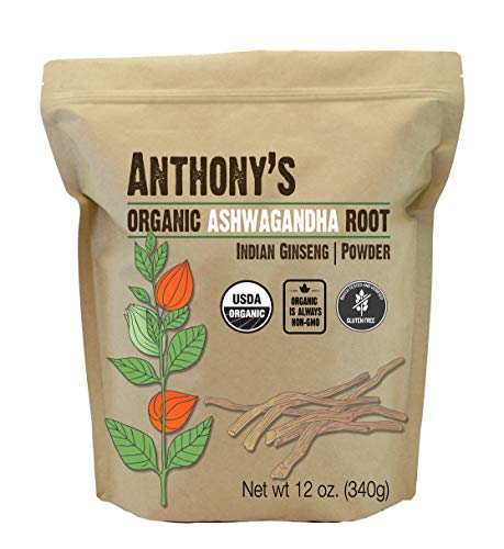 Anthony's Organic Ashwagandha Powder, 12 oz, Batch Tested Gluten Free, Indian Ginseng, Non GMO, Keto Friendly