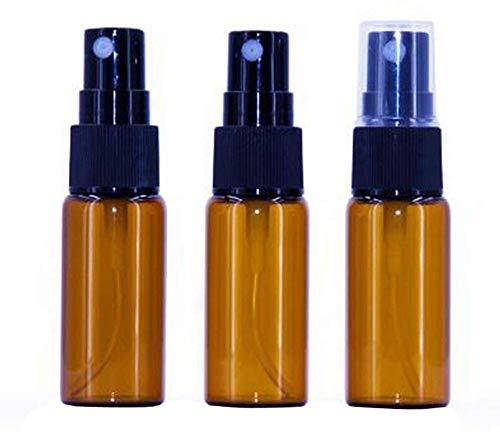 12 piezas de botellas de spray de vidrio ámbar con spray fino, cubierta...