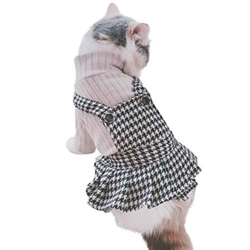 IGUGHI 可愛い 犬洋服 ワンピース 秋冬 ニット 犬の服 ドレス チェック柄 ペット服 ドッグウェア スカートワンピース 暖かい 小型犬 中型犬 散歩/お出掛け/ウェディング/休日/パーティー (XS)