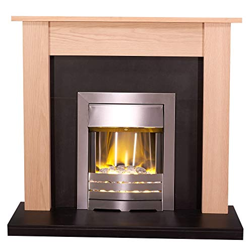 Adam Southwold Fireplace Suite in Oak and Black with Helios Electric Fire in Brushed Steel, 43 Inch