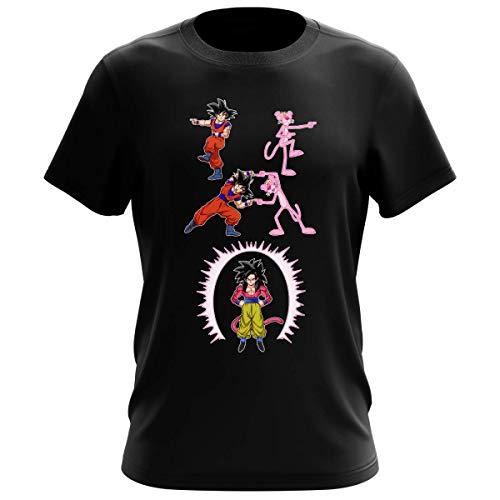 T-shirt Homme Noir parodie Dragon Ball GT Panthère Rose - Sangoku 4 et la Panthère Rose - L'être le plus puissant de l'Univers !! (Fusion !!) (T-shirt de qualité premium de taille XXL - imprimé en Fr