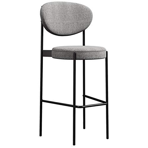 WHOJA Taburete de Bar Silla de diseño Con respaldo Algodón transpirable y lino Taburete delantero marco de metal Con reposapiés Lounge bar silla 150 kg de carga Silla de Comedor