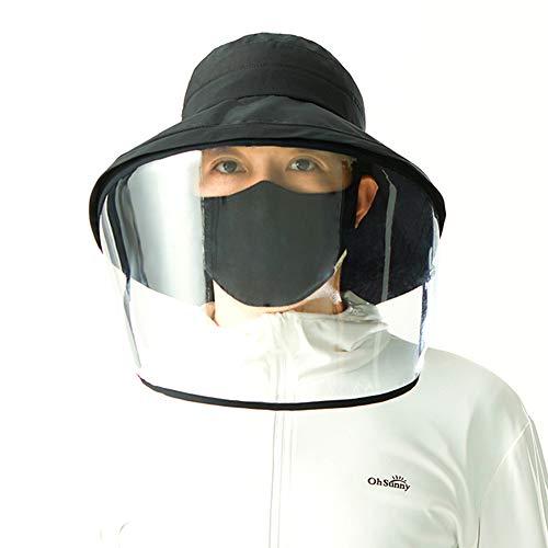 LY Chapeau de PêCheur Couverture Visage Protecteur, Chapeau RéGlable Plein Air Chapeau Plein Visage pour des Enfants D'Adultes,Black