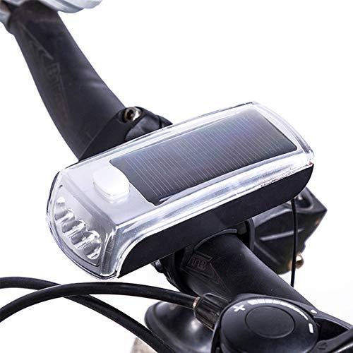 Solar Bike Light, USB & Solar Power Wiederaufladbare LED-Fahrrad-Frontscheinwerfer mit 5-Modus-Hupenglocke für MTB, Rennrad (with Speaker)