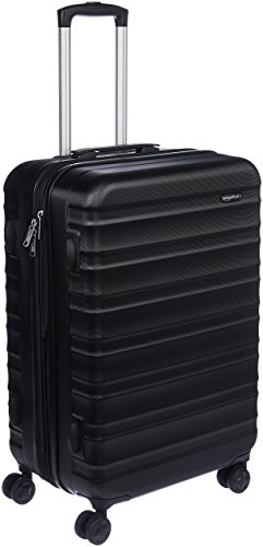 Amazon Basics - Valigia Trolley rigido con rotelle girevoli, 68 cm, Nero