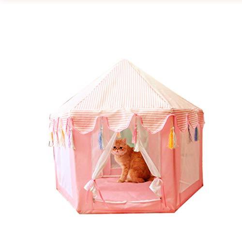 Hh Tienda De Mascotas Hexagonal Tipi Casa De Mongolia Cama para Perros Perrera Casa Gatito Nido De Gato Tienda De Malla Desmontable 85 * 75cm