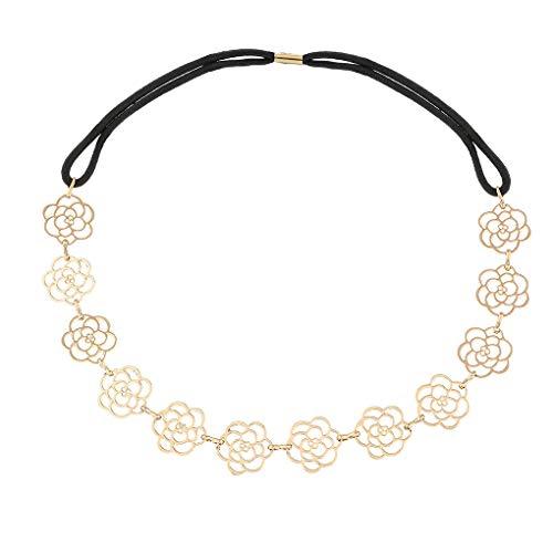 Yalice Elastic Flower Head Chain Hair Gold Leaf Headband Elegant Headpieces Wedding Hair Acessories for Women and Girls (Gold-3)
