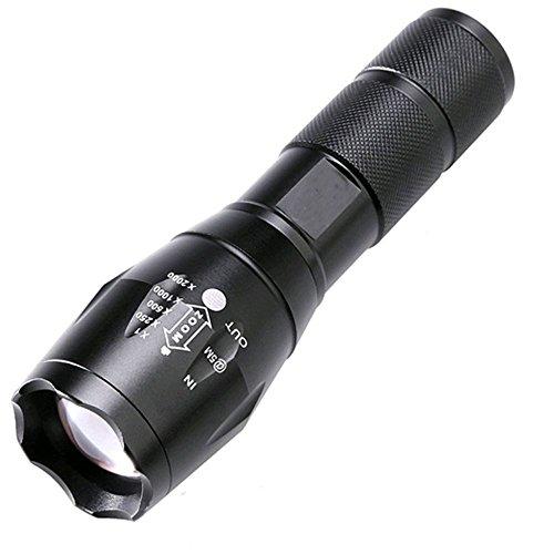 BESTSUN 2500 Lumen Zoomable Cree XML-T6 LED 18650 Flashlight Focus Torch Lamp Adjustable (Black)