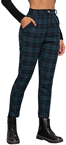 SOLY HUX Women s Casual Plaid High Waisted Pants Cropped Trousers with Pocket Multicoloured product image