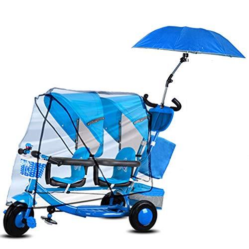 YUMEIGE Trikes Twin Kids driewieler gewicht 100 Kg 1-6 Jaar Oude Verjaardag Kids Gift Peuter Kinderwagens Trike met regenhoes (Jongen/meisje) Blauw