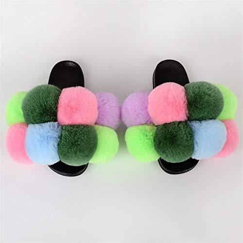 FWKTG Peludo Pantuflas Mujer Sandalias Zapatilla Casa Zapato Antideslizante Mujer Slippers Interiores y Exteriores (Color : K, Size : 39eu)